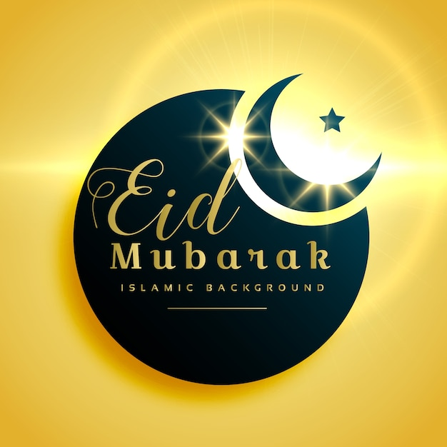 Beautiful eid mubarak greeting card design with crescent moon Free Vector