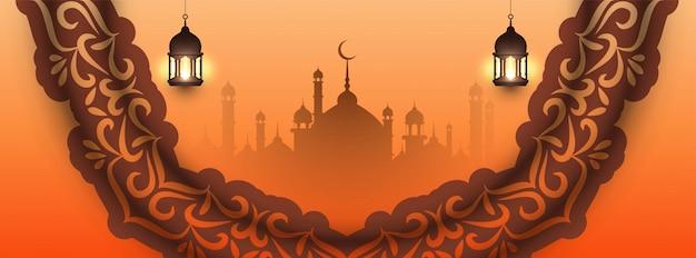 Beautiful eid mubarak islamic design Free Vector