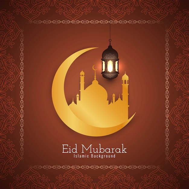 beautiful eid mubarak religious card with golden moon