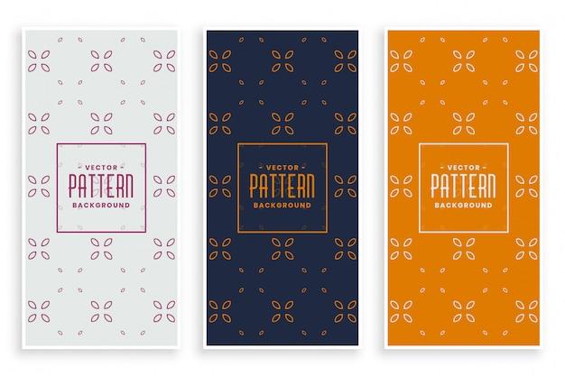 Beautiful elegant floral pattern banners set Free Vector