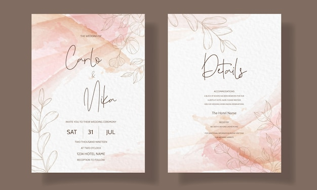 Beautiful and elegant floral wedding invitation card template Free Vector