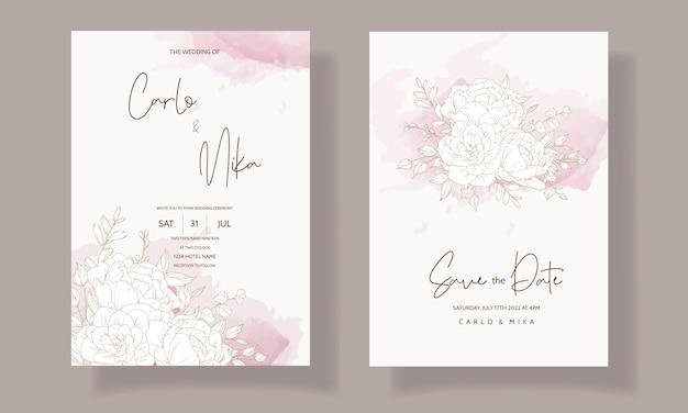Modello di carta di invito matrimonio floreale bello ed elegante Vettore gratuito