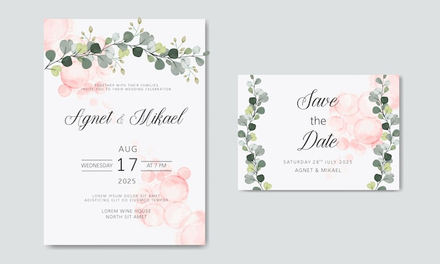 Beautiful and elegant floral wedding invitation cards Premium Vector