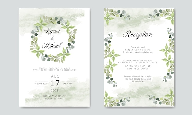 Beautiful and elegant floral wedding invitation Premium Vector