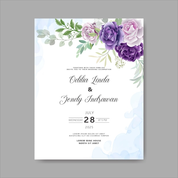 Beautiful and elegant flower and leaves wedding invitation Premium Vector