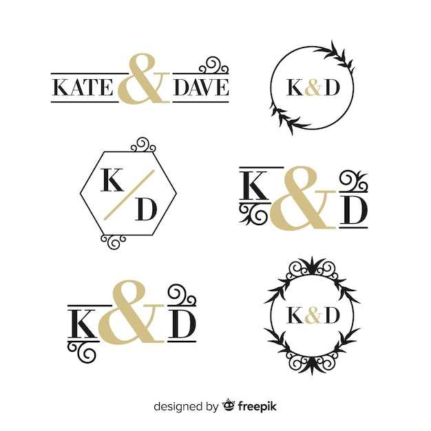 Beautiful and elegant logo or logotype set for wedding or florist Free Vector