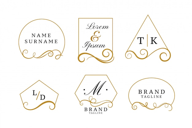 Beautiful elegant logos or wedding monograms collection Free Vector