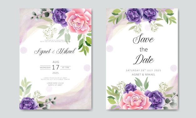 Beautiful and elegant wedding invitation cards with floral themes Premium Vector