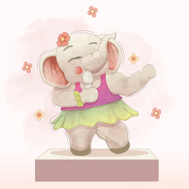 Beautiful elephant singing on stage Premium Vector