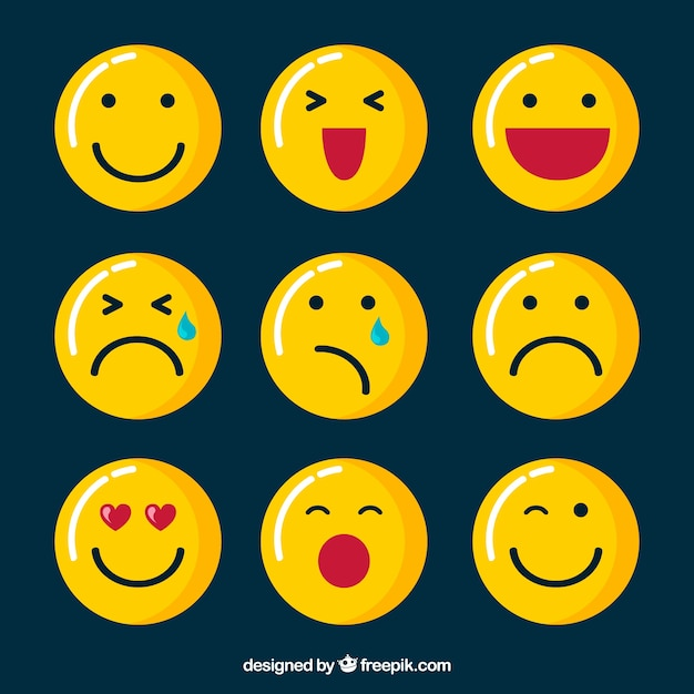 Beautiful emoticons in flat design Free Vector