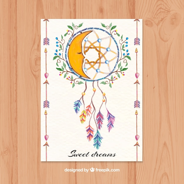 Beautiful ethnic card with dreamcatcher in watercolor style Free Vector