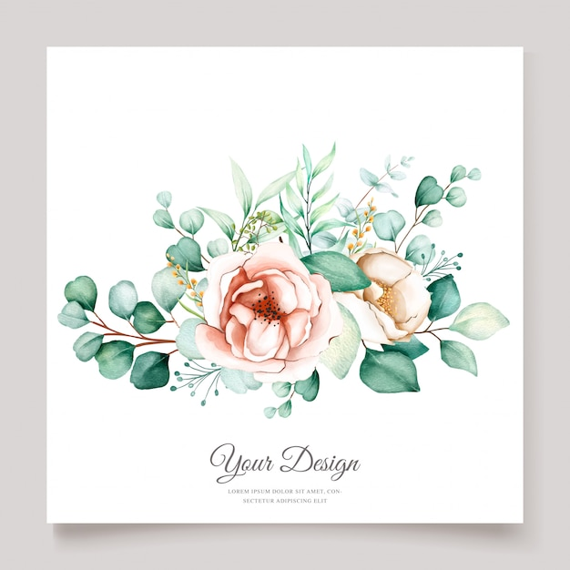 Beautiful eucalyptus wedding invitation card set Free Vector
