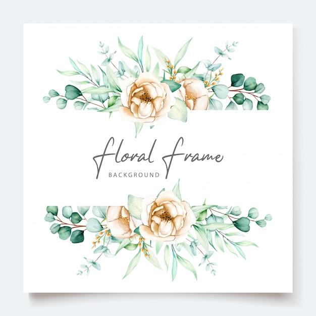 Beautiful eucalyptus wedding invitation card set Free Vector