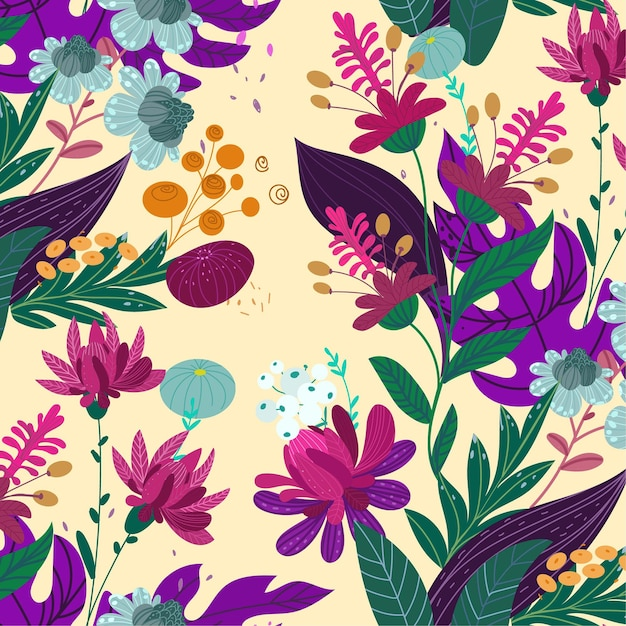 아름 다운 이국적인 꽃 패턴 무료 벡터