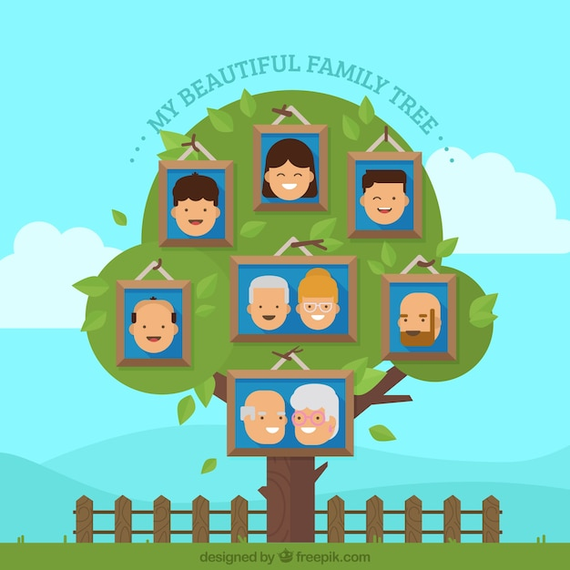 Beautiful family tree with happy members