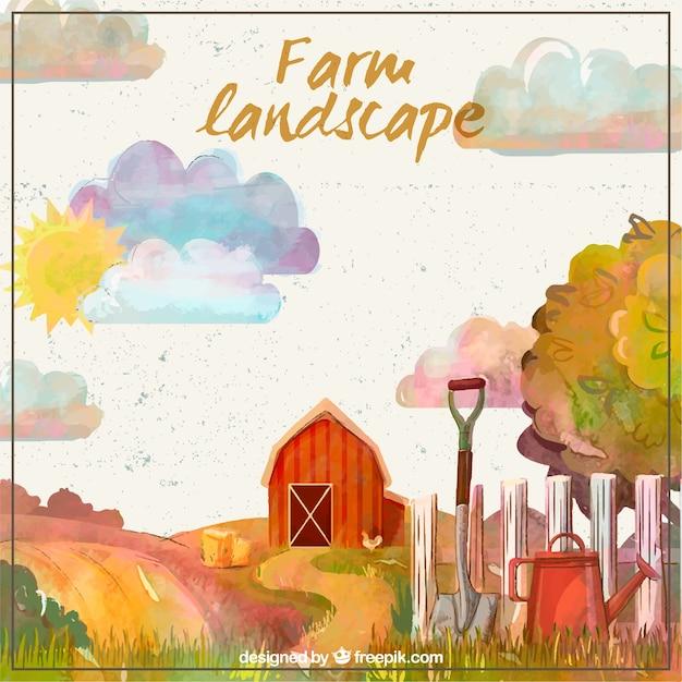 Beautiful farm landscape Free Vector