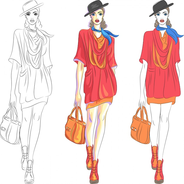 Beautiful fashion girl top model in hat and with bag Premium Vector