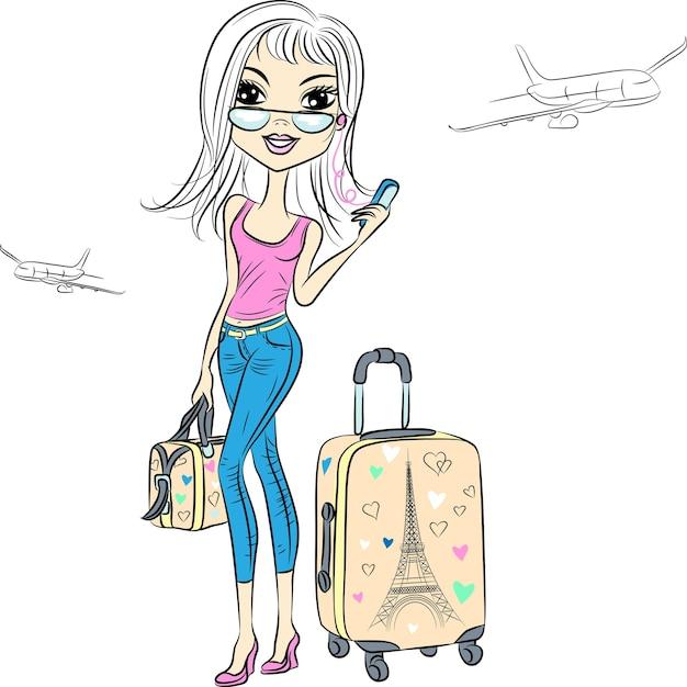 Красивая модная девушка с чемоданами путешествует по миру на самолетах Premium векторы