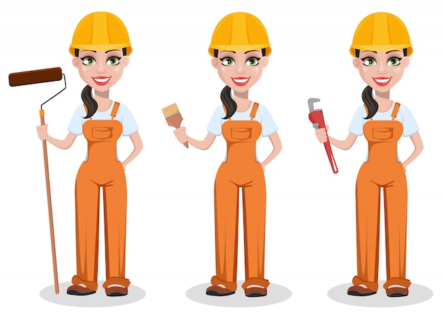 Beautiful female builder in uniform Premium Vector