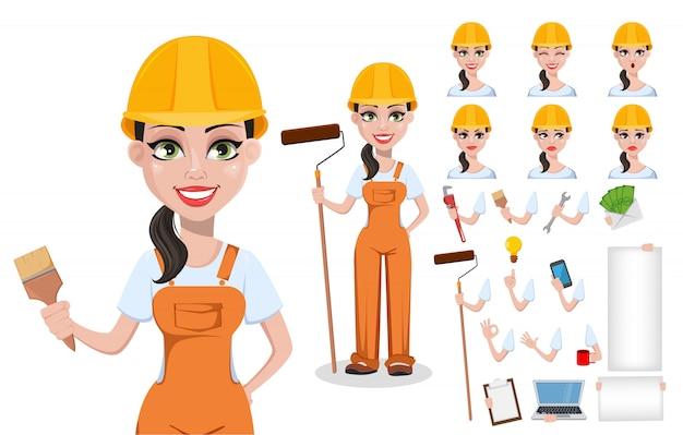 Beautiful female builder in uniform Premium Vector
