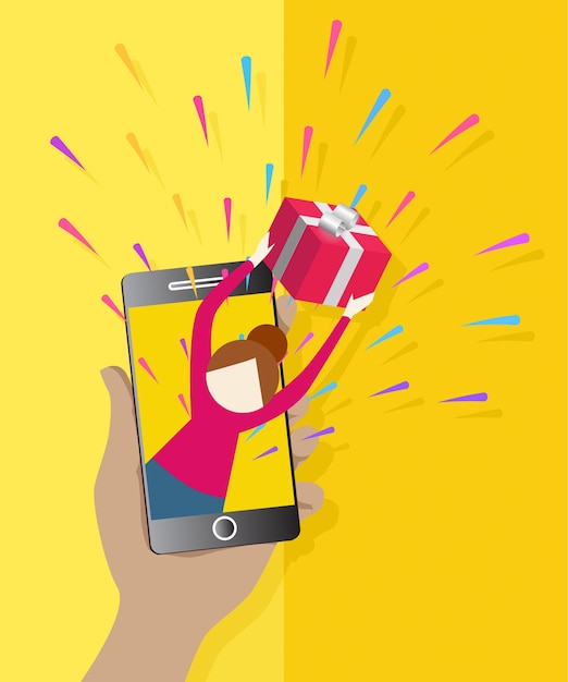 Beautiful female giving present from smartphone flat icon Premium Vector