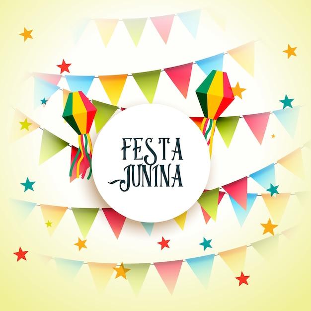 Beautiful festa junina design with garlands Premium Vector
