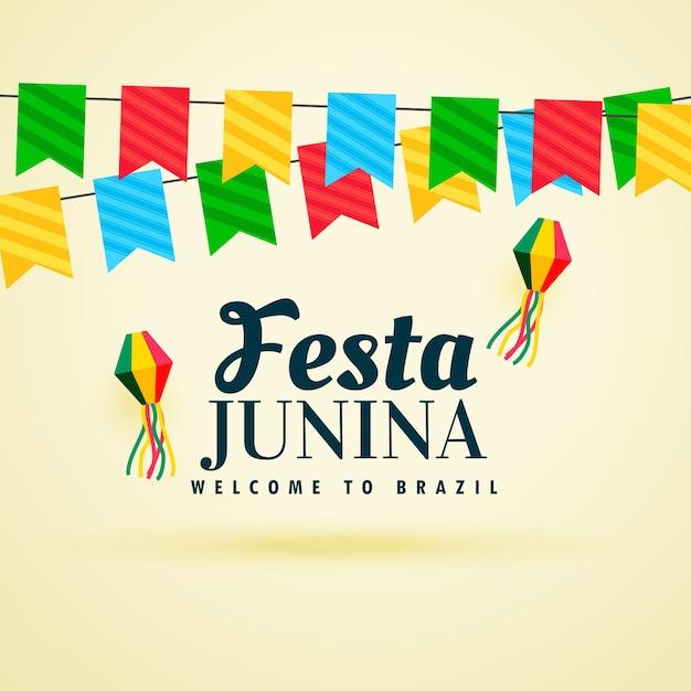 Beautiful festa junina design with garlands Free Vector