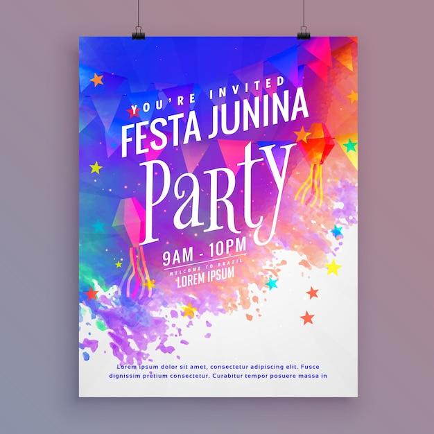 Beautiful festa junina poster Premium Vector