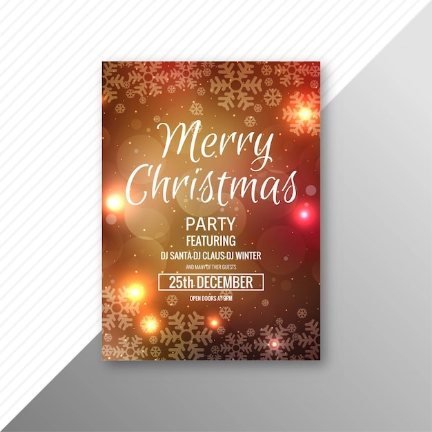 Beautiful Festival Merry Christmas Flyer Template Design Vector