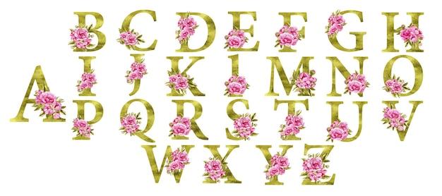 핑크 꽃과 아름다운 축제 황금 알파벳 프리미엄 벡터
