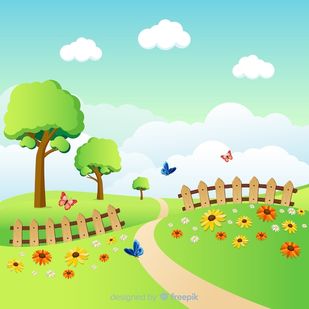 Beautiful field spring background Free Vector