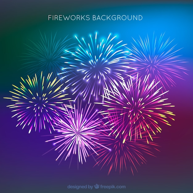 Beautiful fireworks background Free Vector
