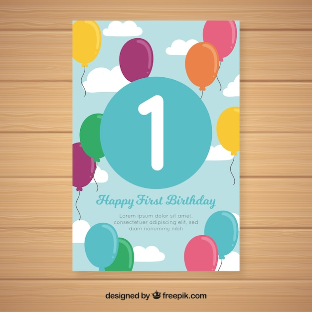 Beautiful First Birthday Card Design Vector Free Download