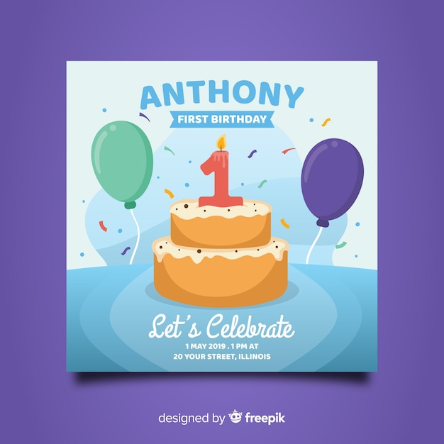 Beautiful first birthday card design Free Vector