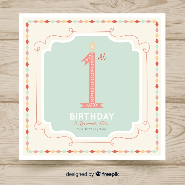 Beautiful first birthday card template Free Vector