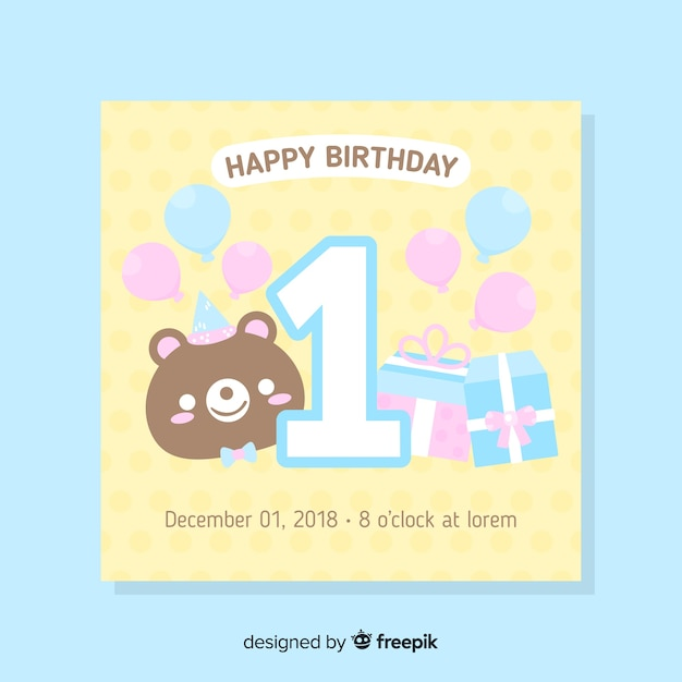 Super Beautiful First Birthday Card Template Free Vector Personalised Birthday Cards Bromeletsinfo