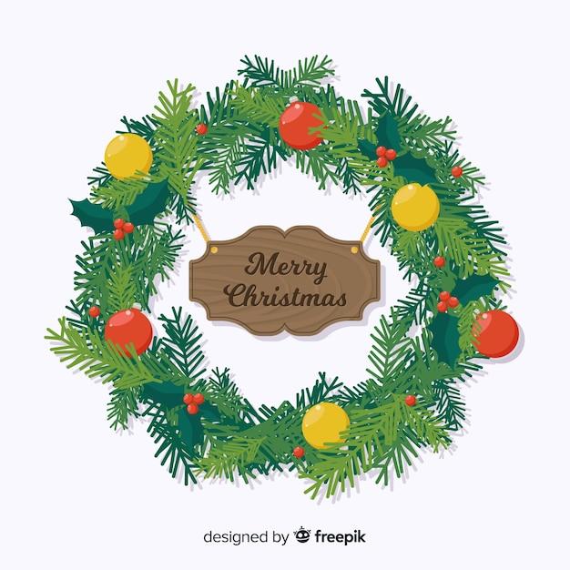 Beautiful flat christmas decoration design Free Vector
