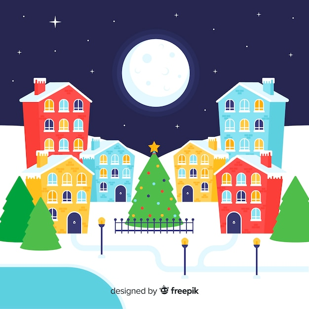 Beautiful flat christmas town background Free Vector