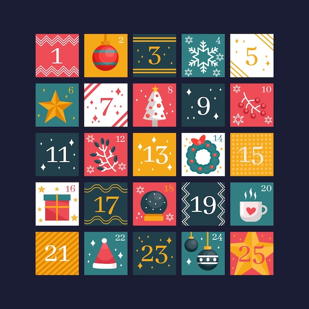 Beautiful flat design advent calendar Free Vector