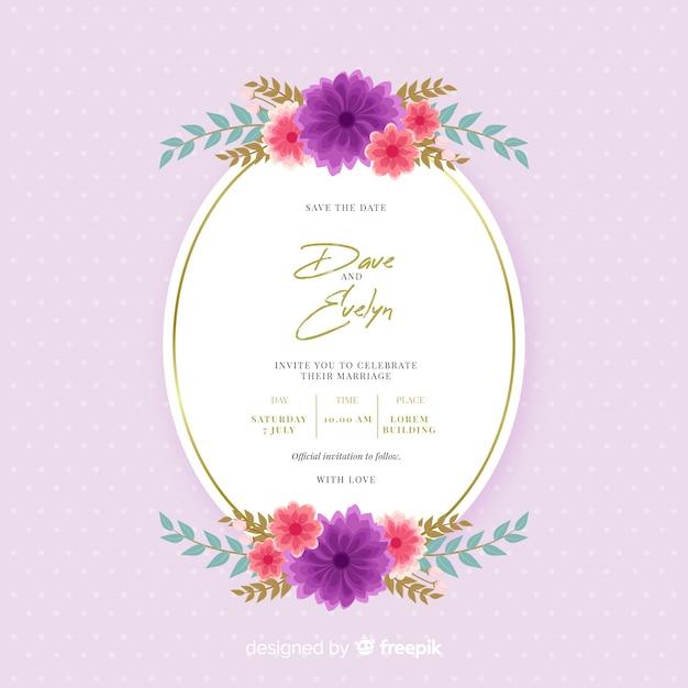 Beautiful flat design of floral frame wedding invitation Free Vector