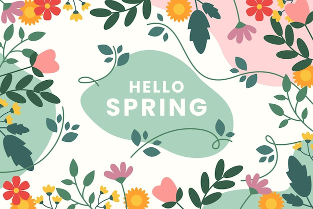Beautiful flat design spring background with flowers Free Vector