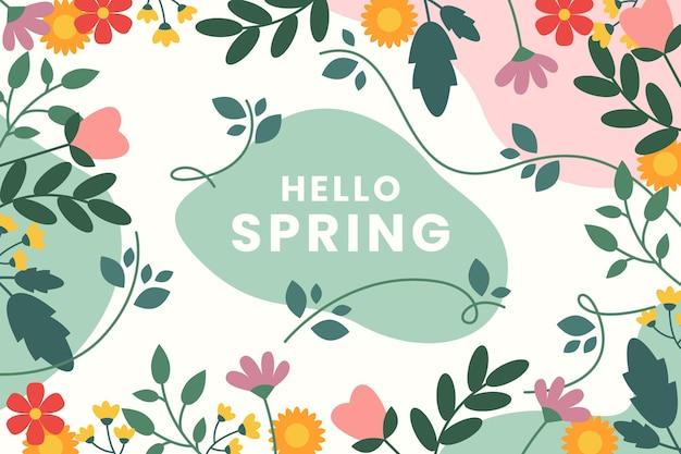花と美しいフラットデザイン春の背景 無料ベクター