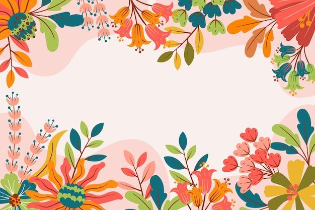 Красивый плоский дизайн весенний фон с цветами Бесплатные векторы