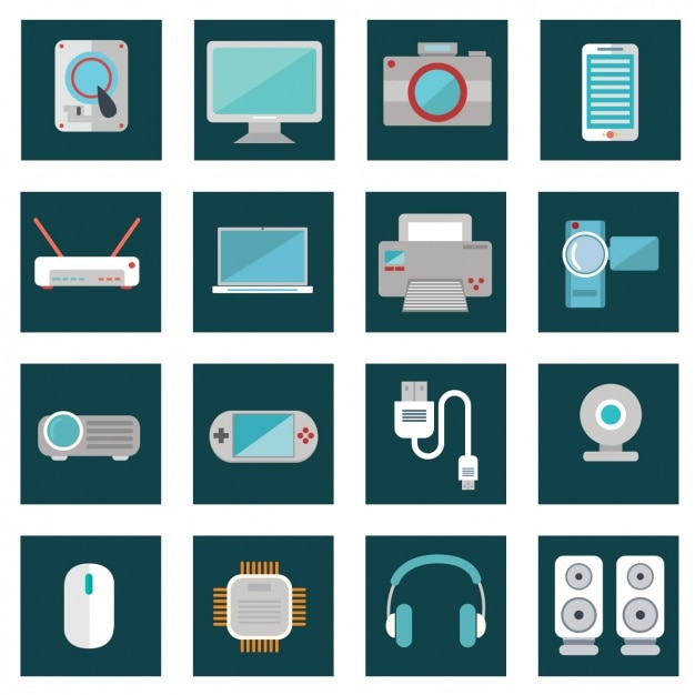 Beautiful flat devices Free Vector