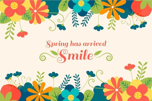꽃과 함께 아름 다운 플랫 봄 배경 무료 벡터