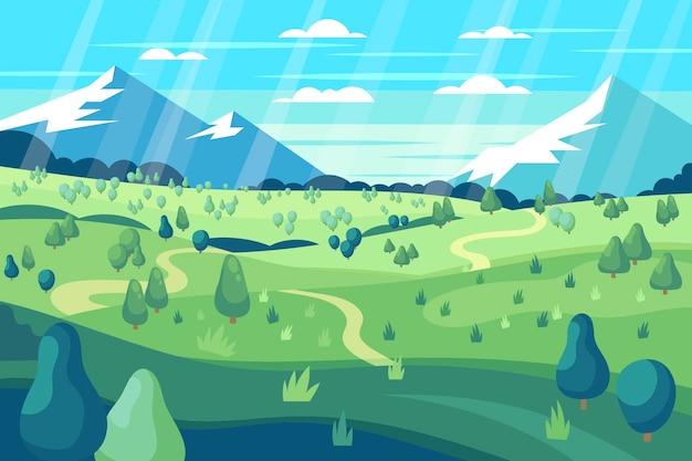 Красивый плоский весенний пейзаж Бесплатные векторы