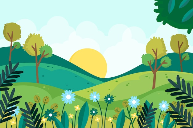 Beautiful flat spring landscape Free Vector