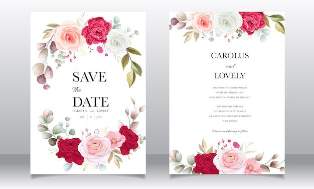 아름 다운 꽃과 나뭇잎 결혼식 초대 카드 무료 벡터