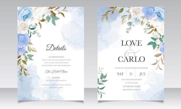 Красивые цветочные и листья свадебные приглашения Бесплатные векторы