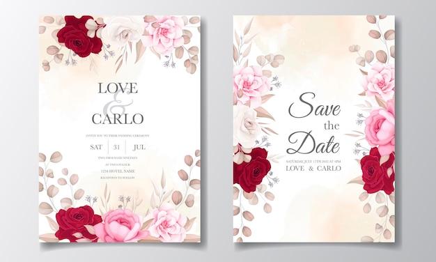 美しい花と葉の結婚式の招待カード 無料ベクター
